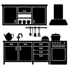 Set of black kitchen icons, furniture, utensils, vector