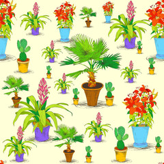 Seamless office flowers pattern