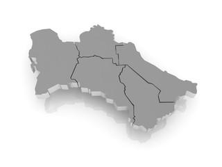 Map of Turkmenistan.