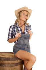 cowgirl on barrel overalls hold