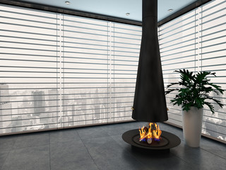 Empty living room with modern fireplace