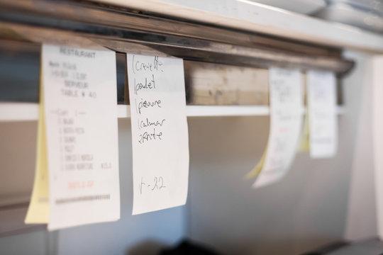 Orders in a restaurant Kitchen