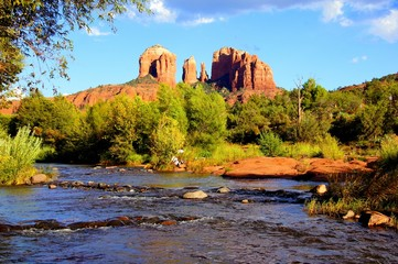 Fototapete - View of Cathedral Rock and river at dusk, Sedona, Arizona, USA