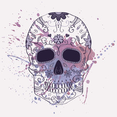 Poster Crâne aquarelle Vector illustration of Day of the Dead skull with ornament