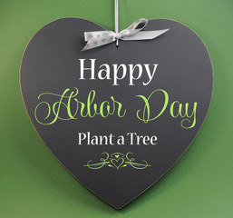 Happy Arbor Day, Plant a Tree, greeting on blackboard
