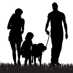 Vector silhouette of a family.
