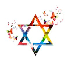 Colorful vector Star of David symbol background