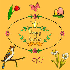 Vector cartoon set for Easter card