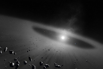 Asteroid belt  with inner four solar planets