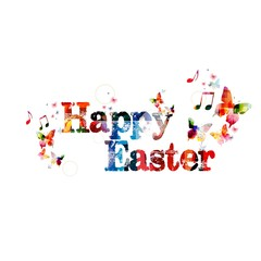 """Colorful vector """"Happy Easter"""" background with butterflies"""