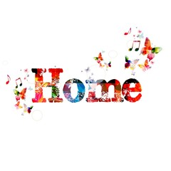 "Colorful vector ""Home"" background with butterflies"