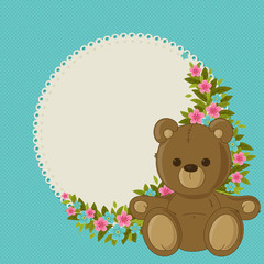 Beautiful blue floral blank card with teddy bear
