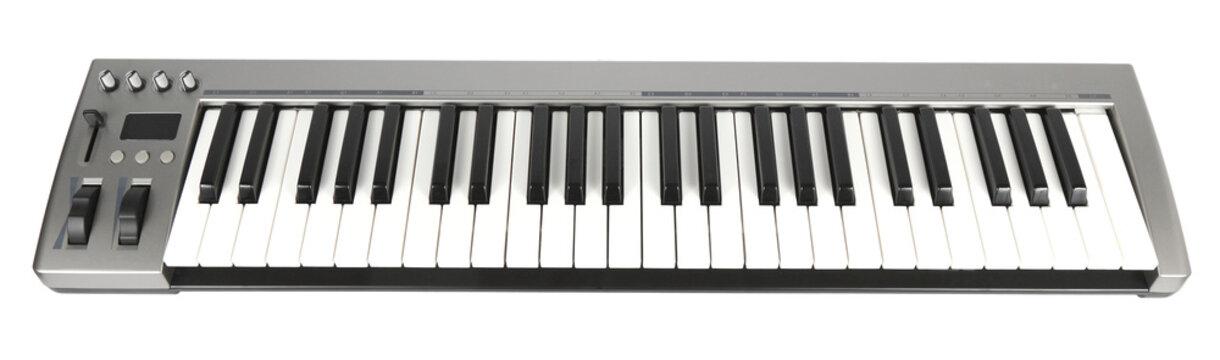 Electronic Midi Keyboard White background