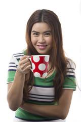 Portrait of Asian woman holding coffee mug