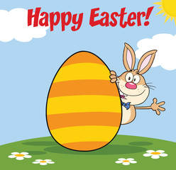 Happy Easter From Rabbit Cartoon Character Waving Behind Egg
