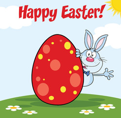 Happy Easter From Blue Rabbit Character Waving Behind Egg