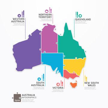 Australia Map Infographic Template jigsaw concept banner. vector