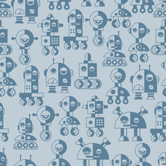 Seamless robots pattern in flat style.