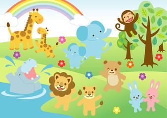 子供向け動物イラスト Adobe Stock でこのストックベクターを購入して