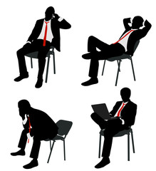 bussinesman sitting n the chair - vector