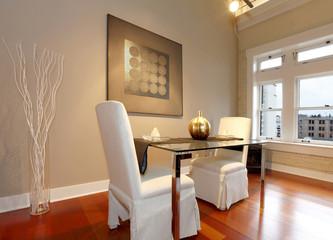 Elegant dining table set in a modern living room