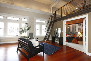 Reconstructed modern bedroom and living room
