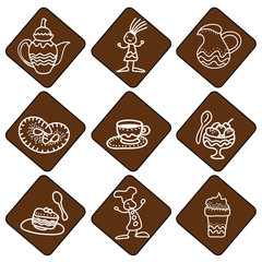 Icones with tea and coffee things on brown