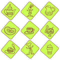 Icones with tea and coffee things on green