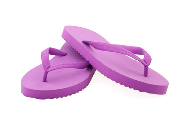 Pink flip flops isolated on white