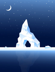 Iceberg at Night & Moon-Vector