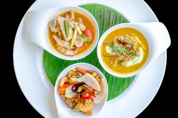 Three thai restaurant food