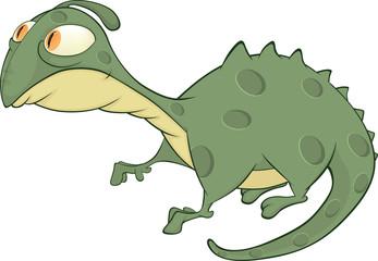Little green lizard cartoon