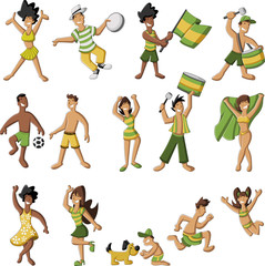 Group of cartoon brazilian people having fun