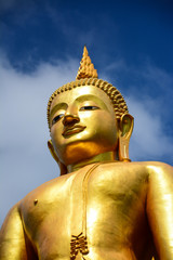 statue buddha on blue sky background in songkhla,Thailand