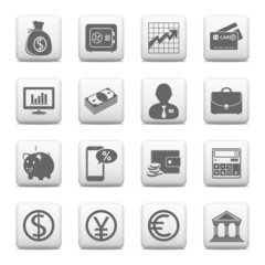 Web buttons, finance and banking icons