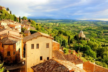 Foto op Canvas Toscane Tuscan countryside and Montepulciano at sunset, Italy