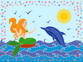 Dolphin and Mermaid in the sea waves