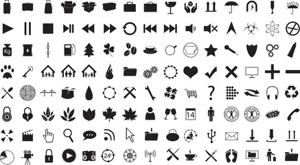 Random icon collection illustrated on white