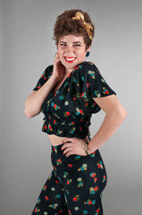 Pinup Girl in Flowered Outfit Cheeky Grin
