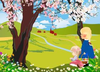 krajobraz z kwitnącym drzewem