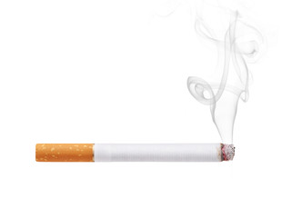Smoking cigarette isolated on white background