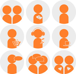 Vector icons people in grey and orange