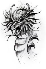 Wall Mural - Dragon head, sketch of tattoo