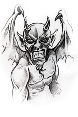 Gargoyle, sketch of tattoo