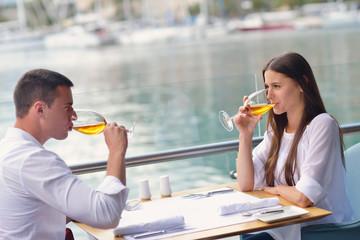 couple having lanch at beautiful restaurant