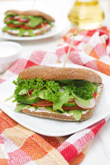 Healthy food - sandwich with cottage cheese and vegetables