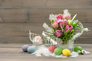 easter decoration with pink tulip flowers
