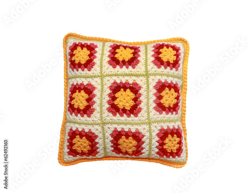 Knitted Pillow On White Background Stock Photo And Royalty Free