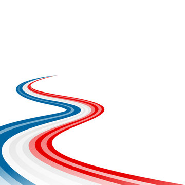 Abstract waving blue white red ribbon flag