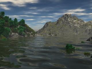 Paisaje de entre montañas y lago